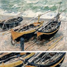 """45""""x36"""" THREE FISHING BOATS by CLAUDE MONET MUSEUM Repro CANVAS"""