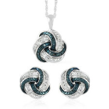 Sterling Silver Diamond Earrings Pendant Necklace Set Ct 0.2 I Color I3 Clarity