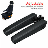 PU leather Adjustable Seat Armrest For Truck Car Accessories Right + Left Black