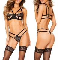 Women Lace Bra Cut Babydoll Out Lingerie Open Cup Underwear See Through Sexy Set