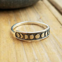 Handmade Vintage  Silver Moon  Phase Finger Ring Moon  Band Jewelry Size 7-9