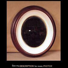Antique Victorian Black Walnut Oval Shadowbox Picture Frame w/ Mirror