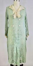 1920s Cotton Gauze House Dress Green Print M L Antique Vintage L'Aiglon