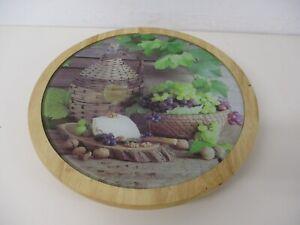 Lazy Susan Rotating Food Platter, Sharing Plate, Wood Base, Glass Top, 32cm Dia