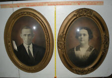 Original Antique 19 x 23 Oval Convex Bubble Glass  Frame  With old pictures