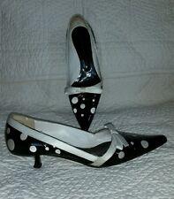 Giuseppe zanotti black white polka-dot kitten heels sz 37.5 patent leather