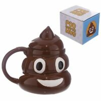 EMOJI EMOTICON POOP POO 3D STYLE NOVELTY COFFEE MUG CUP WITH LID NEW IN GIFT BOX