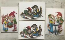 Vintage Greeting cards set of 4 ~ Lithuania 1989 ~ Gnome & Cat