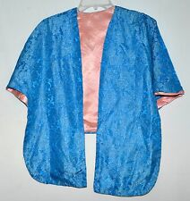 Vintage Asian Blue Flowered Brocade Cape with Pink Satin Lining One Size