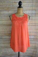 99de13acbe590 Liz Lange Maternity - Orange soft RAYON blend SHEER crochet shoulder top