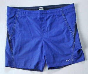Nike Swim Shorts Mens Large Cargo Board Trunks Mesh Lined Solid Blue Active Pool