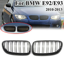 For 10-13 BMW E92 E93 3 Series 2D Carbon Fiber Look Dual Line Front Grille Grill