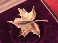 Tolle 800 Silber Brosche Jugendstil Art Deco Antik Blatt Ahorn Organisch Kanada