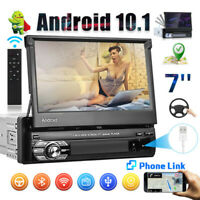 7'' 1 Din Car Radio Android 10.0 GPS Navi Stereo Wifi Flip Out Touch Screen FM