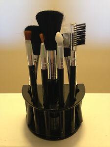 Cosmetic Brush Set with Stand - 3 Face, 3 Eyes, Eyelash Comb, Eyebrow Brush New