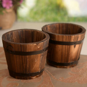Wooden Round Barrel Planter Flower Pots Home Office Garden Wedding Decor c Tk I-