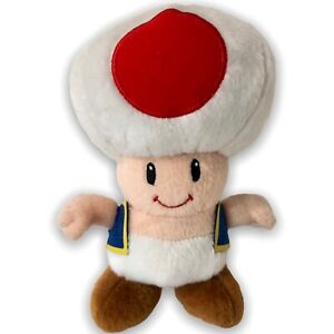 """Nintendo Super Mario Brothers TOAD Plush Toy Doll Red with Blue Vest 10""""2010"""
