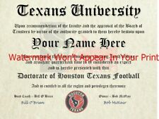 Houston Texans Nfl #1 Fan Certificate Man Cave Diploma Perfect Gift