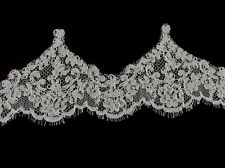Wedding bridal embroidered corded lace eyelash veil trimming trim 001 off white