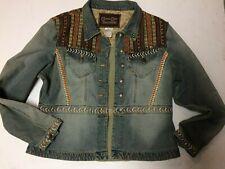 Cripple Creek Denim Embroidery Tapestry Studs Button Down Ranch Jacket Sz XL