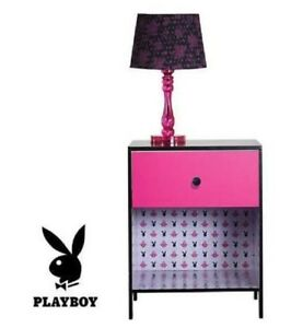 PLAYBOY LOVE PINK BUNNY BEDSIDE TABLE DRAW HOME BEDROOM DECOR FURNITURE RRP: $99