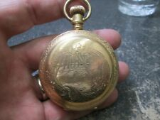 Size Hunters case Running Pocket Watch Elgin Very fancy gold filled Large