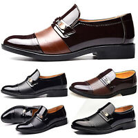 Mens Oxfords Dress Tuxedo Formal Shoes Brogue Pointed Toe Patent Leather Loafers