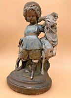 Vintage Boy and Goat Plaster Chalk-ware Statue Figurine