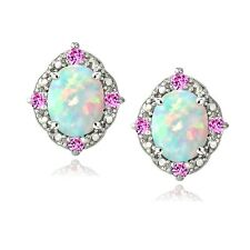 925 2.86ct Created Opal & Pink Sapphire Diamond Accent Oval Earrings