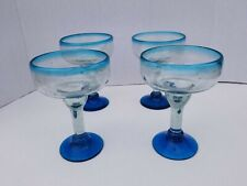 MARGARITA GLASSES AQUA BLUE RIM & BASE  SET OF 4