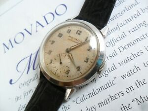 All Orig. Vintage 1940's S/S Men's Movado 17 Jewel Bumper Automatic Swiss Watch