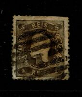 Portugal SC# 25, Used, large Hinge/Page remnant, toned - S6548