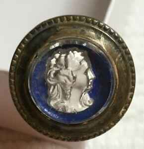 1870's Victorian Cameo-Head Sandwich Glass Nail Head  - Very Rare