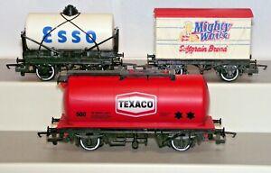 Hornby 00 Gauge Rake x3 Wagons Texaco Esso Tankers Mighty White Van Used Unboxed