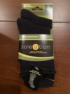 Women's Soleution  Gold Toe Non Binding Crew Socks 2 Pair Pack Shoe Size 5-10