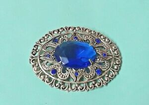Jewel/Brooch Brass and Stones Blue