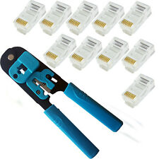 RJ45 Crimp Tool & 10 Connectors 8P8C CAT5e,CAT6- Crimping Crimper Network Cable