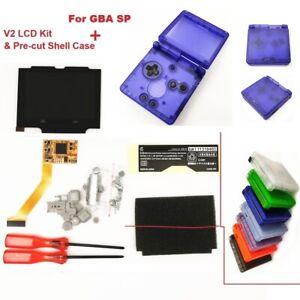 GBA SP 5 Levels Brightness IPS Backlight LCD Mod& GBA SP Pre- Cut Clear Shell
