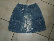 Super Jeans Rock PAMPOLINA Gr.128 blau weiße Rose Gleitzersteinchen neuwertig