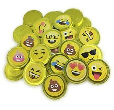 Fort Knox Unique Emoji & Emoji Poop Milk Chocolate Coins w/Stickers Non-GMO, 1Lb