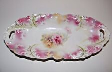 Rare RS Prussia Mold #68 Rose Floral Pattern Celery Dish