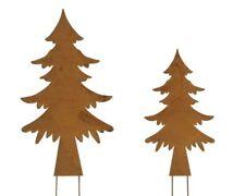 2x Baum Metall Rost zum Stecken Deko Winter Weihnachten Garten Balkon XL 59cm