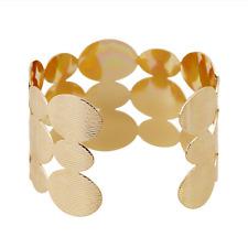 Retro Women Gold Plated  Elliptical Stripe Hollow Punk Cuff Bangle Wide Bracelet