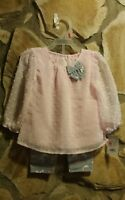 Toddler Girls Healthtex 2pc Pink & Gray Outfit Size 0-3/3-6/18m/24m FREE GIFT