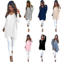 Women Loose Long Sleeve Sweater V-neck Knitwear Pullover Jumper Top Spring US