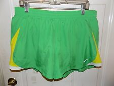 Nike Green/Yellow/White Lined Running Athletic Shorts Size XL Women's