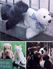 * Vintage 8264 Stuffed Animals SEAL CAT DOG PANDA BEAR Pattern 1982 UNCUT