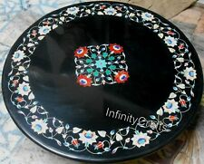 30 Inches Marble Coffee Table Top Handmade Dining Table with Gemstones for Home