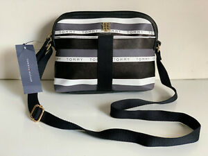 NEW! TOMMY HILFIGER BLACK CAMERA MESSENGER CROSSBODY SLING BAG PURSE $75 SALE
