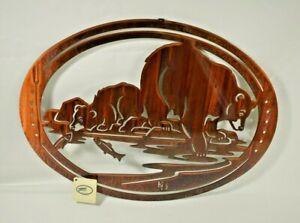 "Bear & Cub Fishing -18"" Laser Cut Metal Decorative Hanging Wall Art Rustic Lodge"